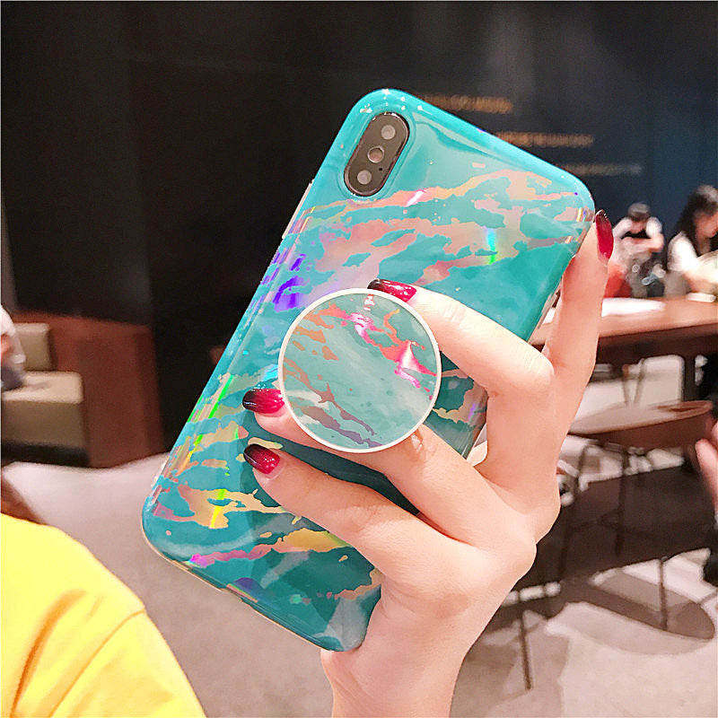 Marble Holo- Our Holographic/Laser Phone Cases For iPhone With Grip Stand Holder