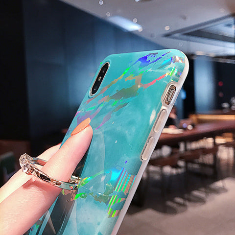 Marble Holographic Laser iPhone Cases