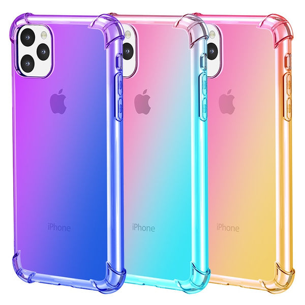 Gradient Soft TPU Phone Case For iPhone 11 Pro Max X XR XS MAX 7 8 Plus Coque Gradient Cover Case For iPhone 5 5S SE 6 6S 6 Plus