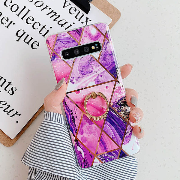 'Golden Diamond' Geometric Marble Phone Case For Samsung Galaxy