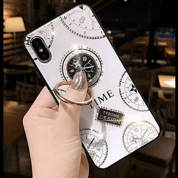 Glitter Clock Pattern Phone Case for IPHONE XS MAX XR X 8 7 PLUS 7 6 6S with 360 Degree Metal Ring Bracket