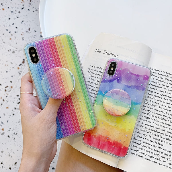Rainbow Color Stars Glitter Holder stand Silicone phone case for iphone / Huawei