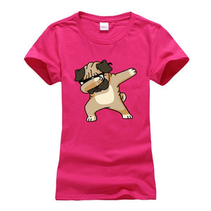 Dabbing Pug T-Shirt For Women short sleeve