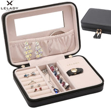 Load image into Gallery viewer, Small travel  Jewelry Box with mirror Inside and Velvet Leather