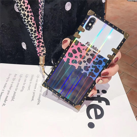 Leopard Print Holographice iPhone Case With Lanyard