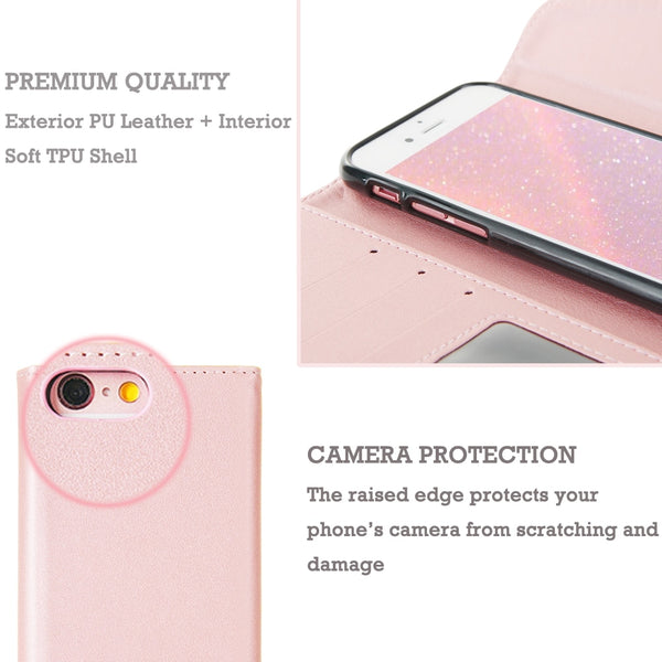 Luxury Leather Wallet Case For iPhone 7 8 6S 6 Plus 5C 5 S SE  Xr X Xs Max with rhinestone detail