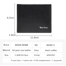 Load image into Gallery viewer, Genuine Leather Bifold Wallet for men