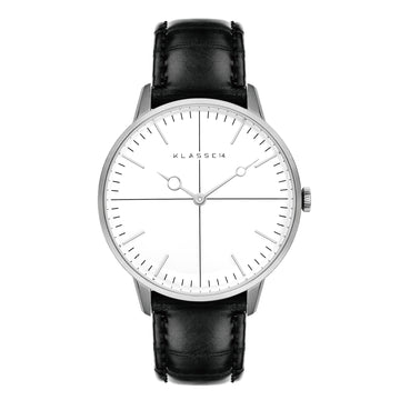 Disco Volante Silver/Black Leather 36MM