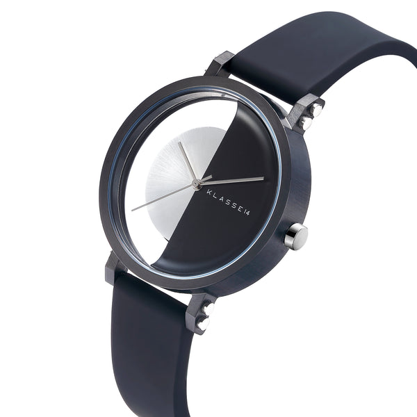 Luxury minimalist chronograph watch black white