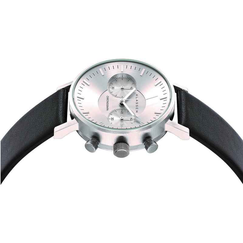 VOLARE CHRONOGRAPH Silver/Black Leather 42MM