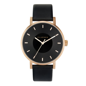 VOLARE Dark Rose/Black Leather 42MM