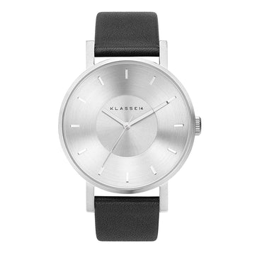 VOLARE CLASSIC Silver/Black Leather 42MM