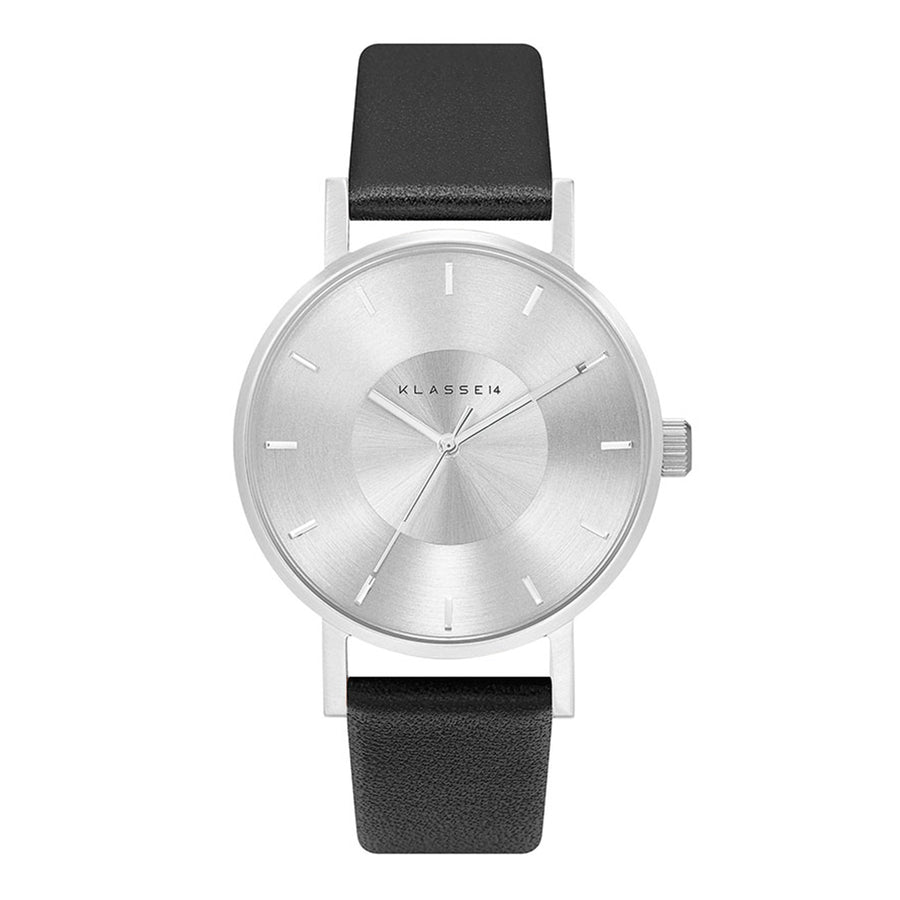 VOLARE CLASSIC Silver/Black Leather 36MM