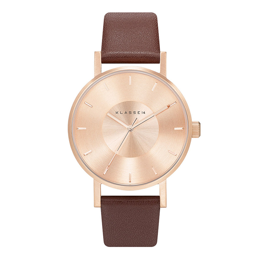 VOLARE CLASSIC Rose Gold/Brown Leather 36MM