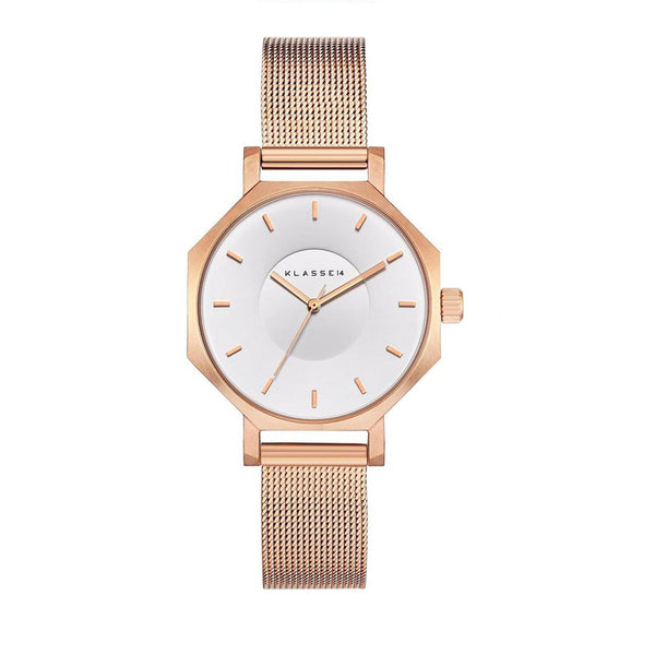 OKTO White Rose/Rose Gold Mesh Band 28MM