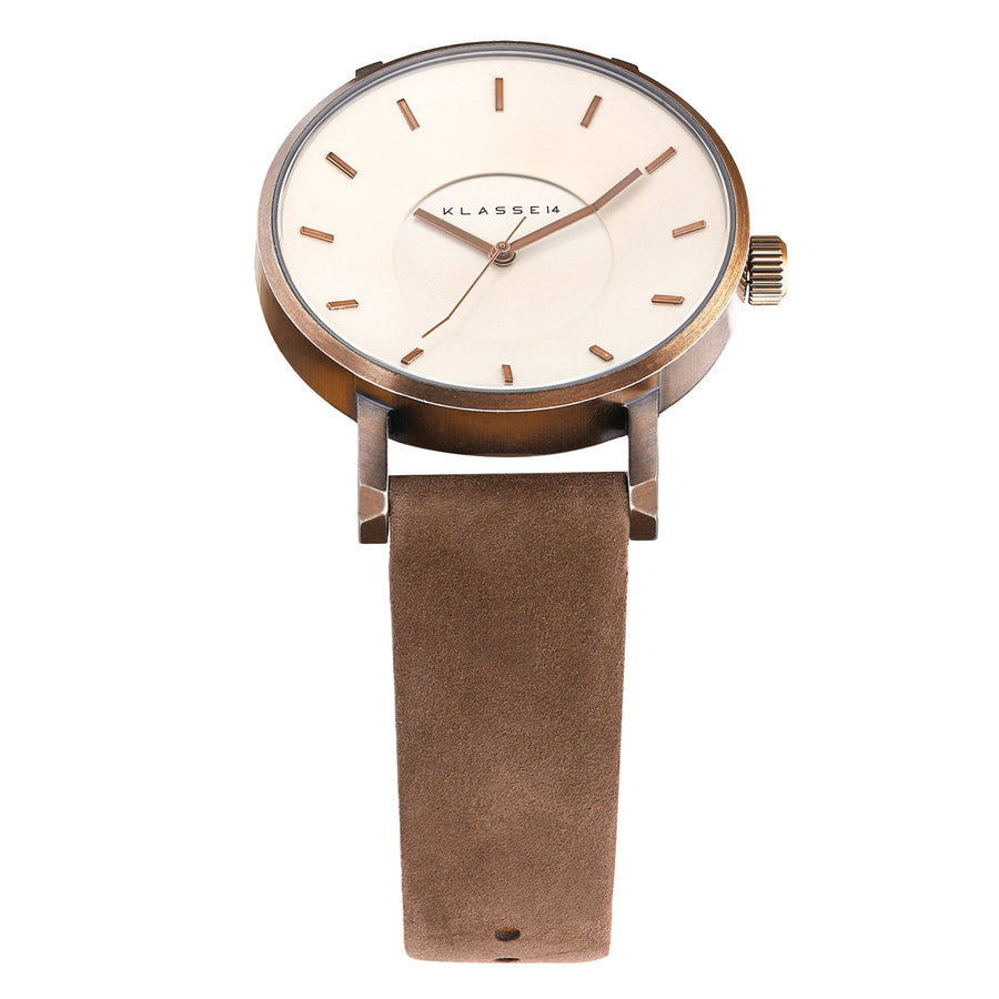 Vintage Gold Brown Leather 42MM