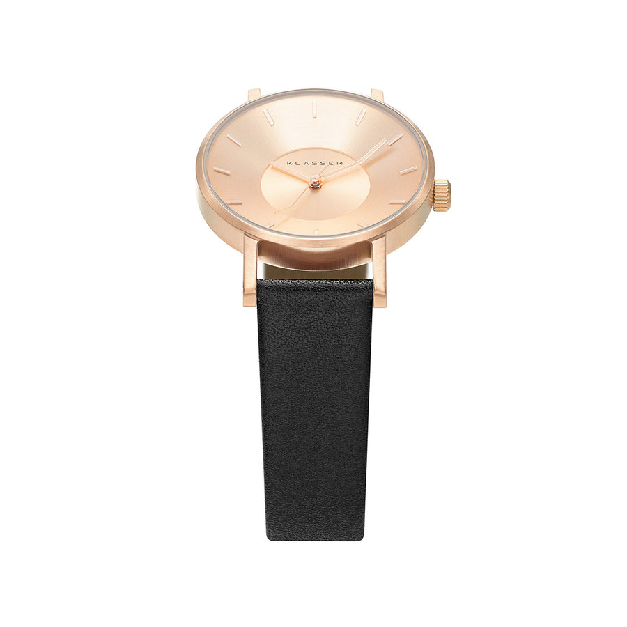 VOLARE CLASSIC Rose Gold/Black Leather 36MM