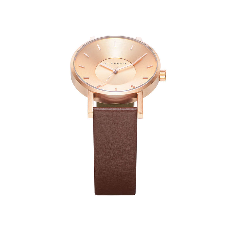 VOLARE CLASSIC Rose Gold/Brown Leather 42MM
