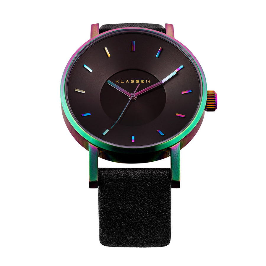 VOLARE RAINBOW Black Leather 42MM
