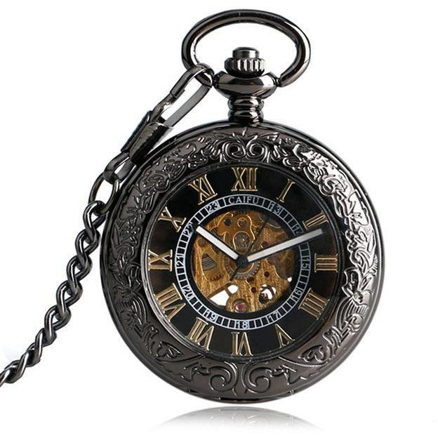 Elegant Black Fob Watch-The Steampunk Cave
