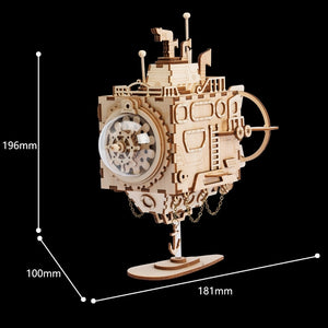 DIY 3D Steampunk Submarine Wooden  Assembly Music Box