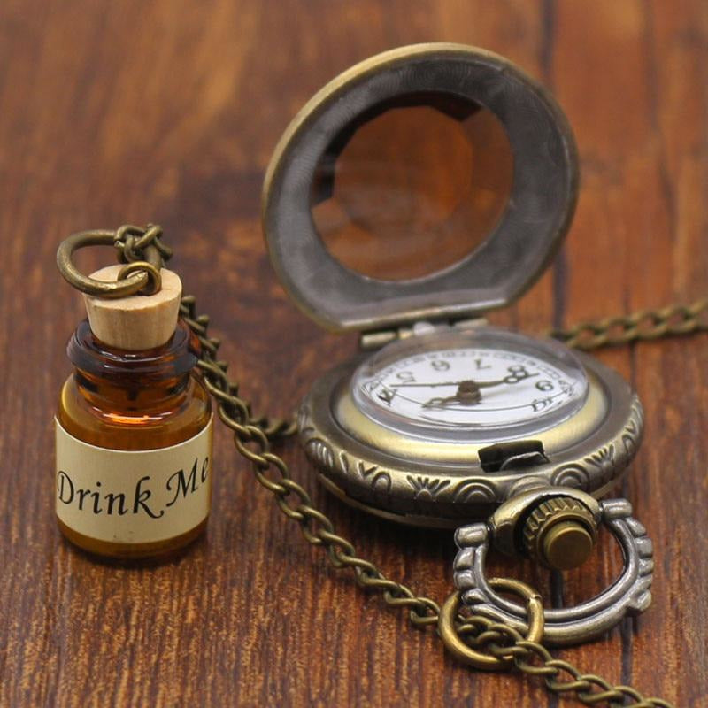 Bronze Pocket Watch with a Glass Bottle-The Steampunk Cave