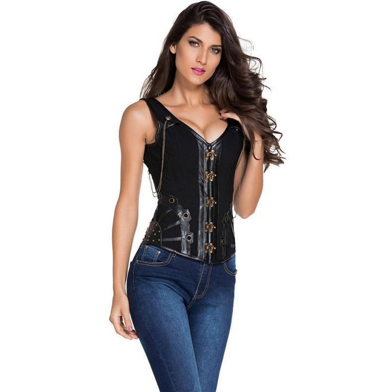 Steampunk Leather Corset – 5 Sizes-The Steampunk Cave