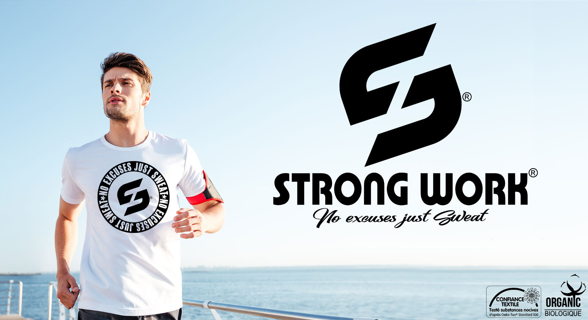 T-SHIRT STRONG WORK NO EXCUSES JUST SWEAT BLACK EDITION HOMME