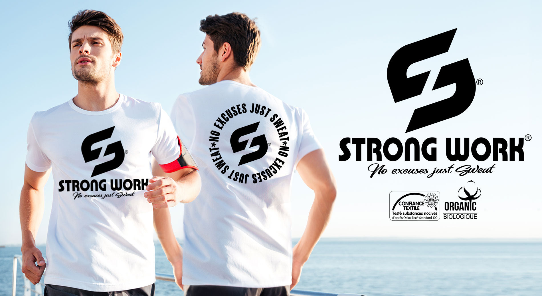 T-SHIRT COTON BIO STRONG WORK INSPIRATION NO EXCUSES JUST SWEAT POUR HOMME