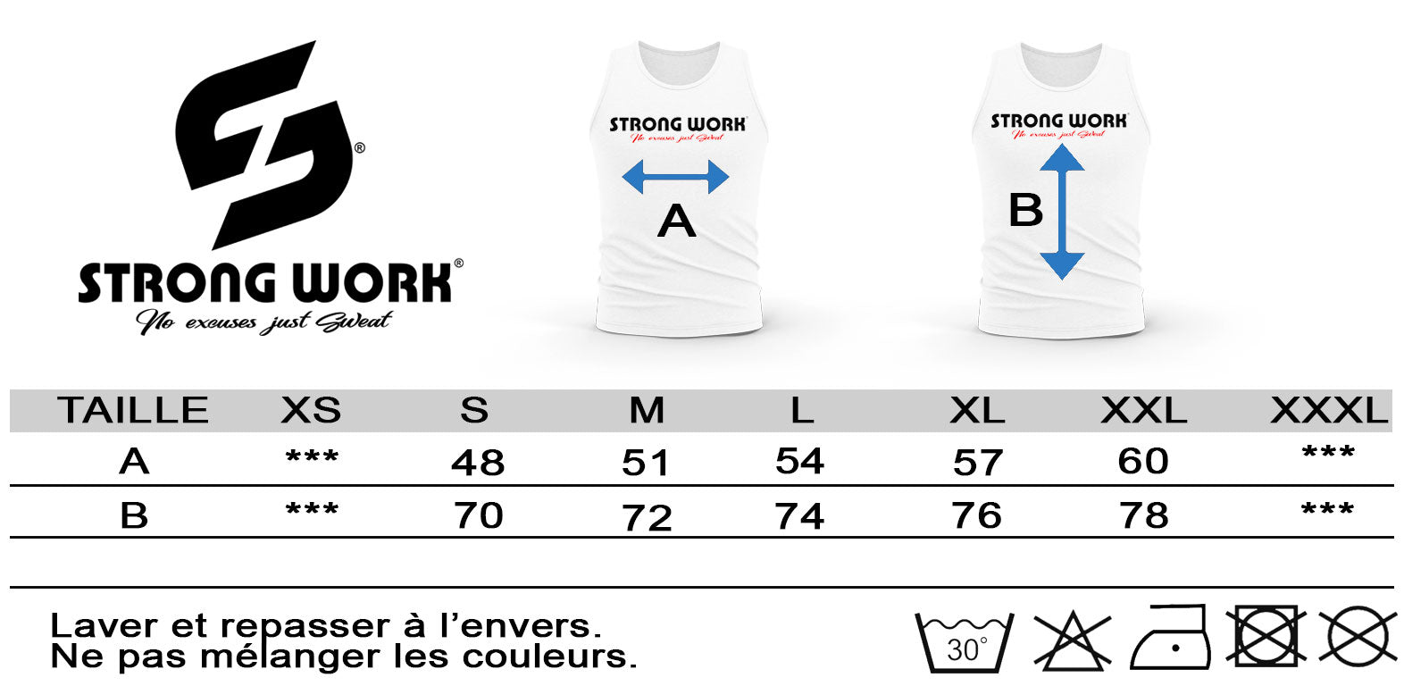 GUIDE DES TAILLES DEBARDEUR POUR HOMME STRONG WORK