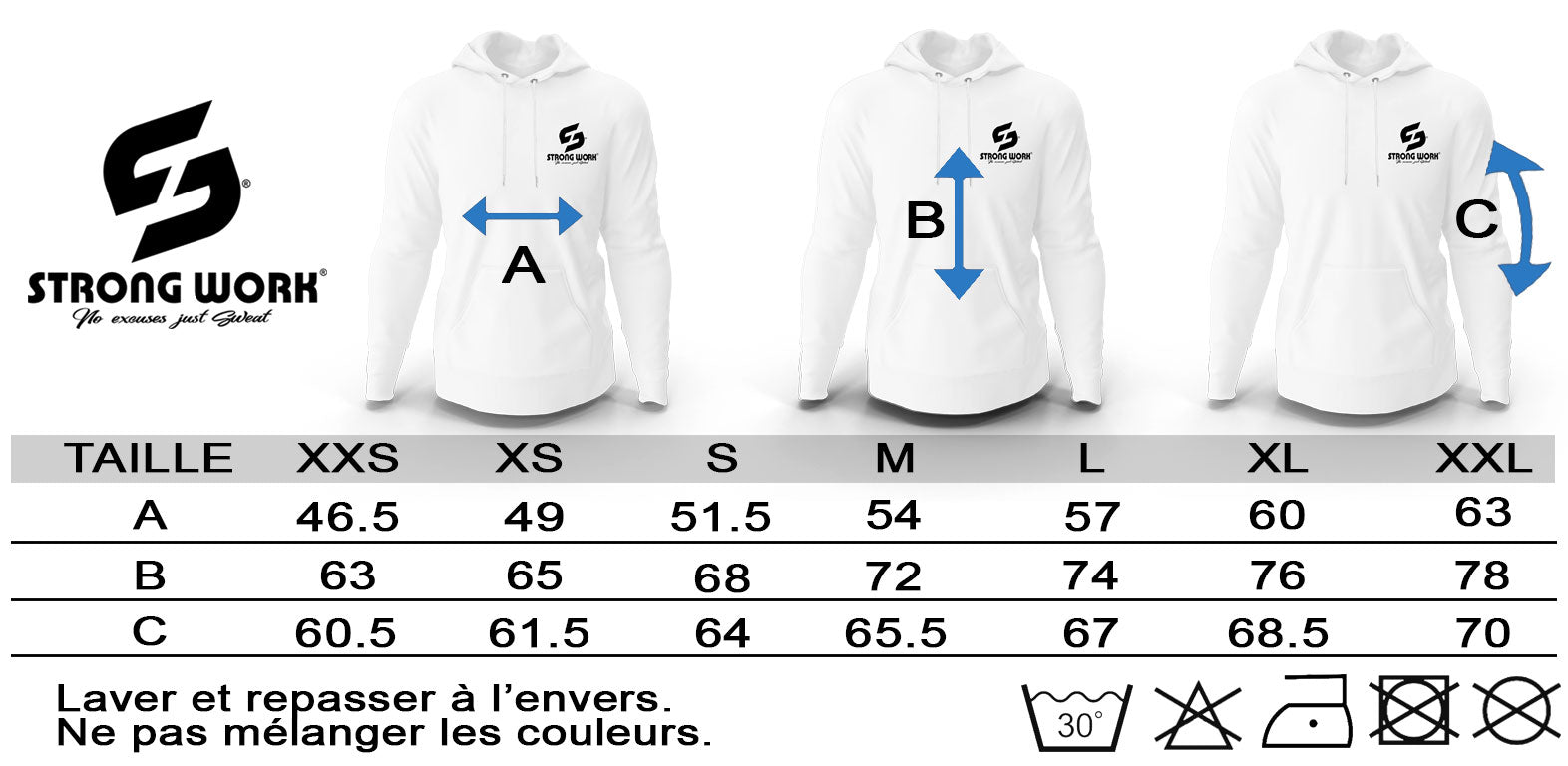 GUIDE DES TAILLES SWEAT SHIRT A CAPUCHE STRONG WORK INTENSITY POUR HOMME