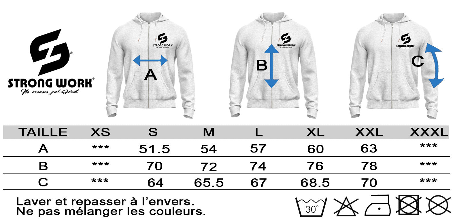 GUIDE DES TAILLES SWEAT SHIRT A CAPUCHE ZIPPE STRONG WORK CLASSIC
