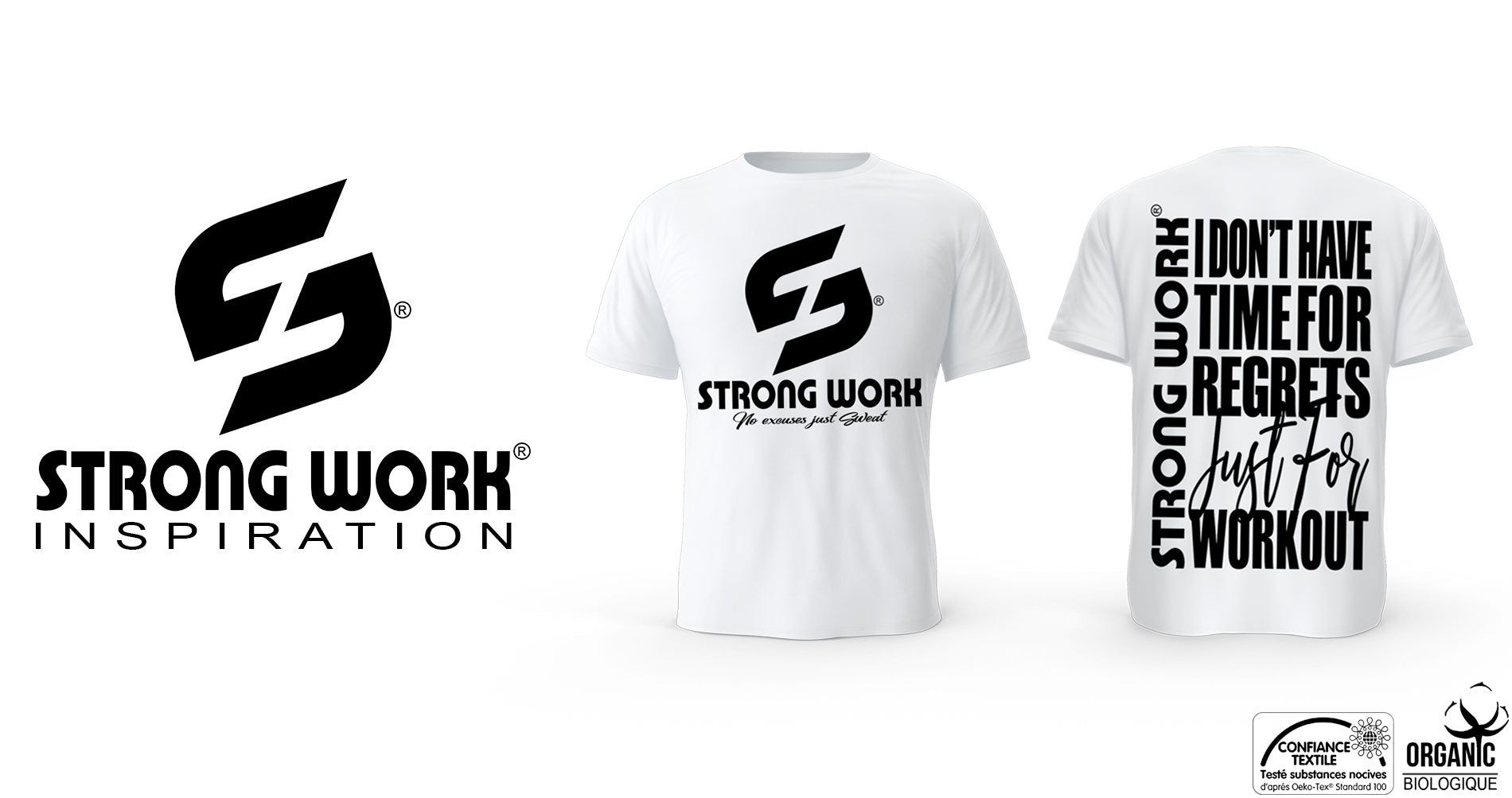 T-Shirt Strong Work I DON'T HAVE TIME FOR REGRETS JUST FOR WORKOUT pour Homme