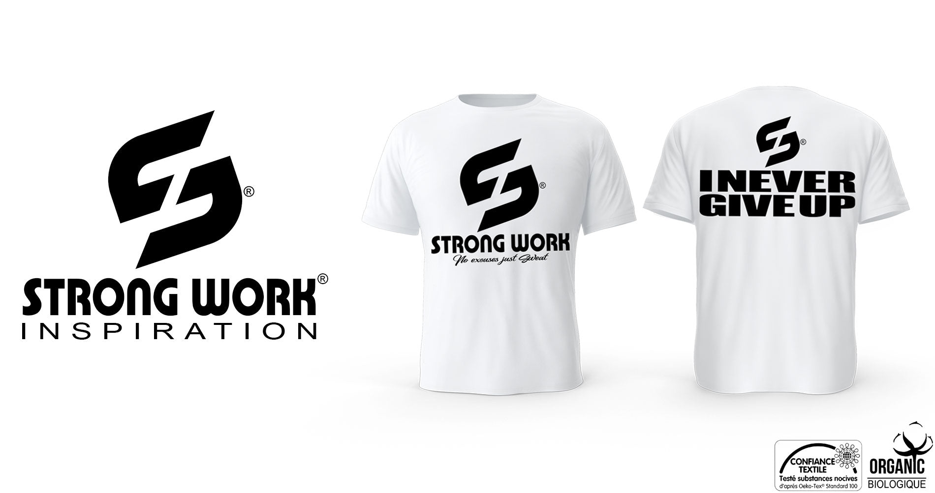 T-SHIRT POUR HOMME STRONG WORK I NEVER GIVE UP