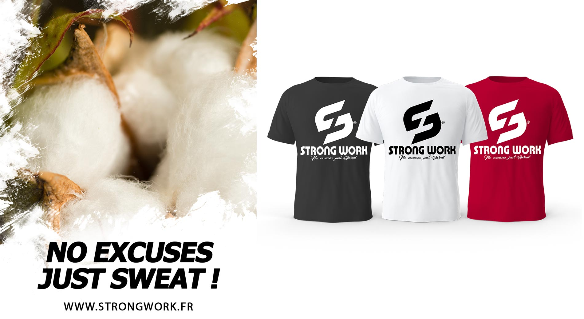 T-SHIRT DE SPORTS BIOLOGIQUE STRONG WORK