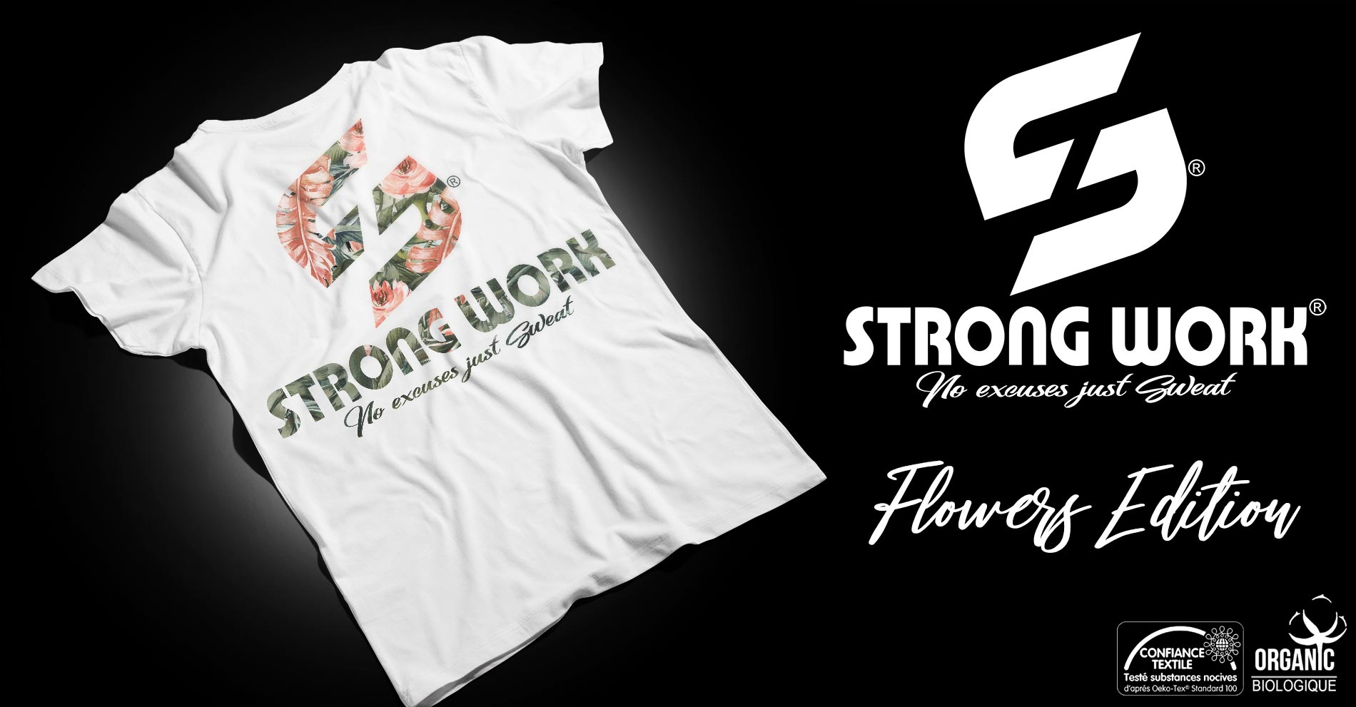 T-SHIRT STRONG WORK FLOWERS EDITION POUR FEMME