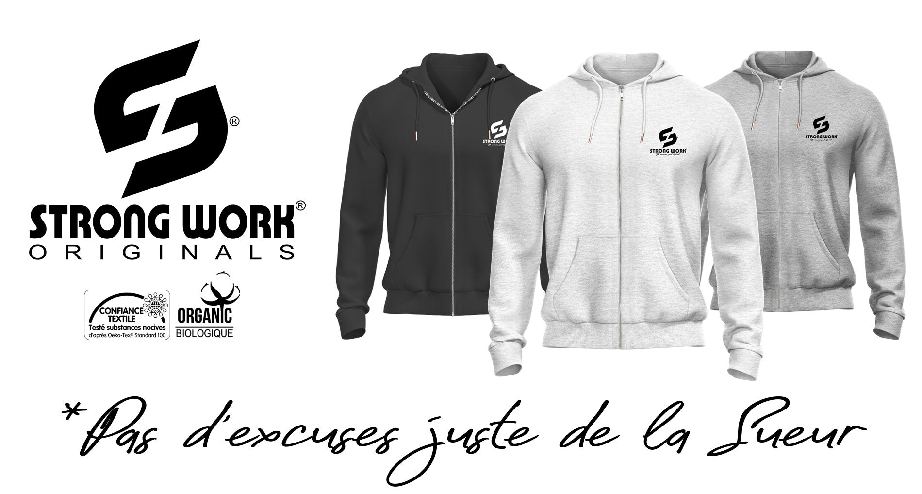 Sweat Shirt à capuche zippé Strong Work Classic pour Homme