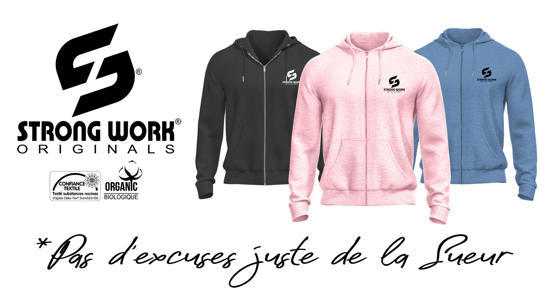 SWEAT-SHIRT ZIPPE A CAPUCHE POUR FEMME STRONG WORK CLASSIC