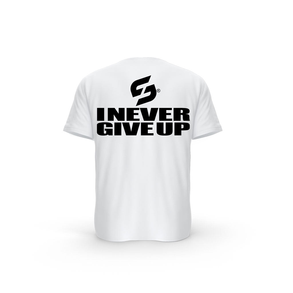 "Débardeur blanc Strong Work ""I NEVER GIVE UP"""