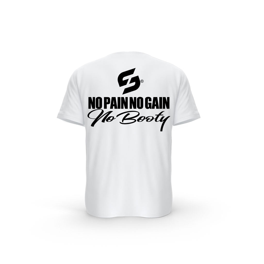 T-SHIRT- COTON-BIO-STRONG-WORK-NO-PAIN-NO-GAIN-NO-BOOTY-BLANC-DOS-FEMME