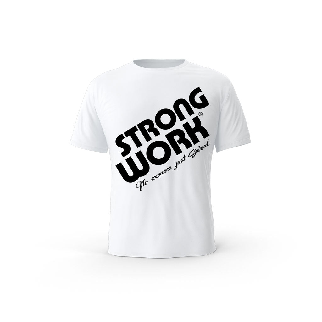 T-SHIRT- COTON-BIO-STRONG-WORK-PRODIGY-BLANC-HOMME