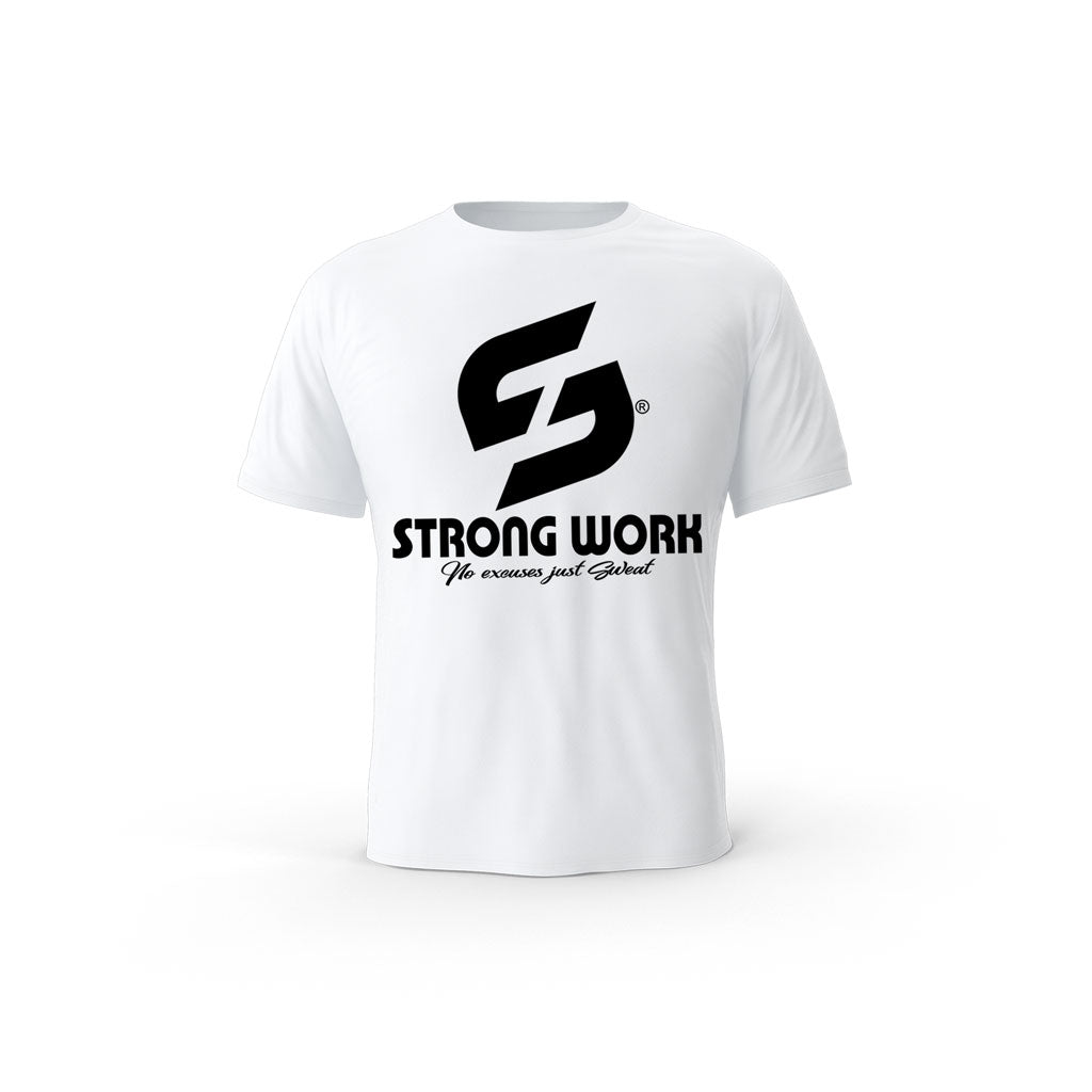 T-SHIRT- COTON-BIO-STRONG-WORK-CLASSIC-OPEN-BLANC-HOMME