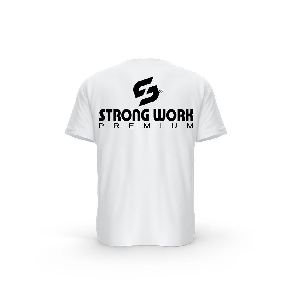 t-shirt dos bio blanc Strong Work PREMIUM pour Homme