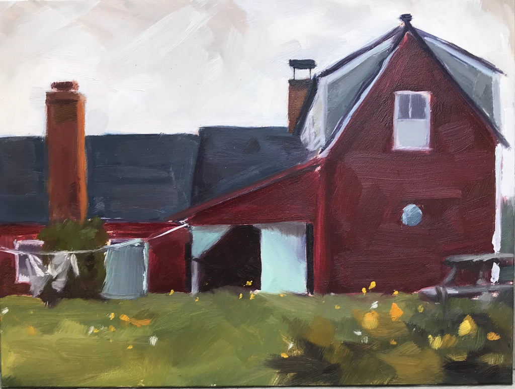 Farm House, Monhegan, Plein air 6x8