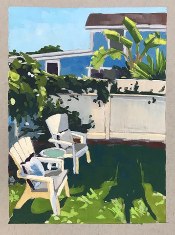 Backyard Oasis - Gouache