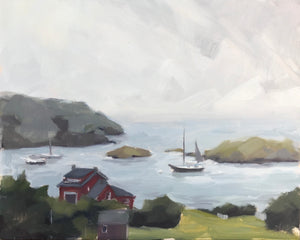 Monhegan Dock View - Plein Air - 8x10
