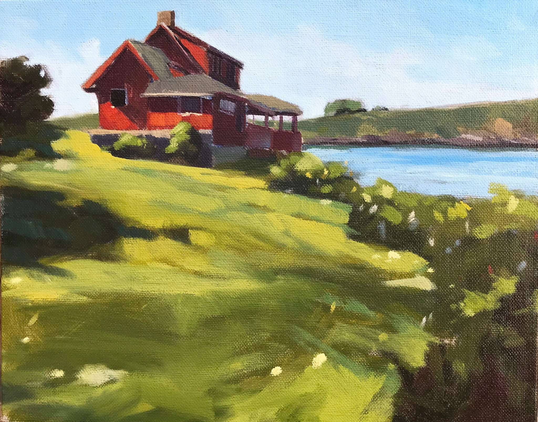 Red House, Monhegan - Plein Air - 8x10
