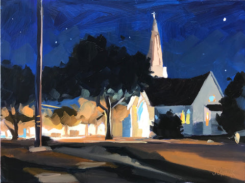 Carpinteria Baptist Church Nocturne - 6x8