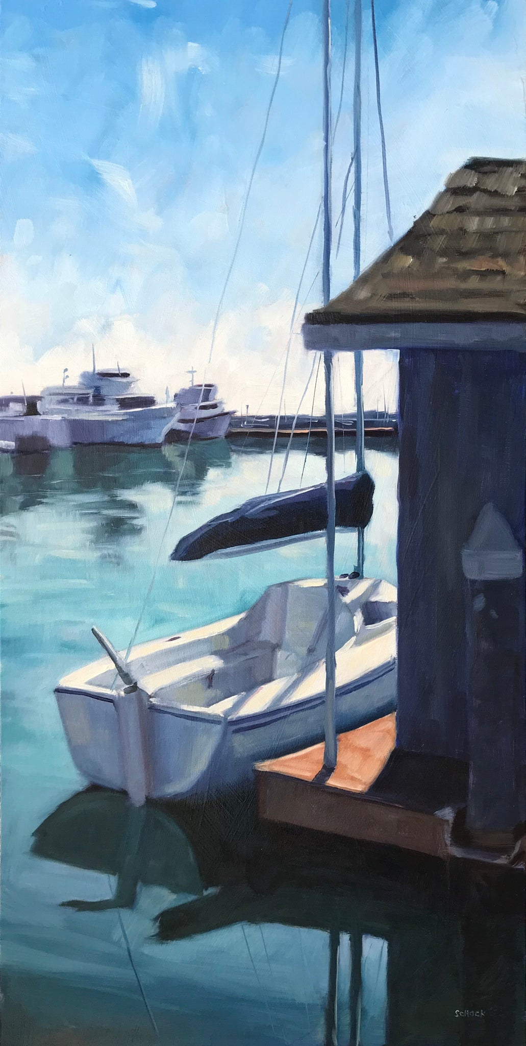 Santa Barbara Harbor Sailboat - 10x20