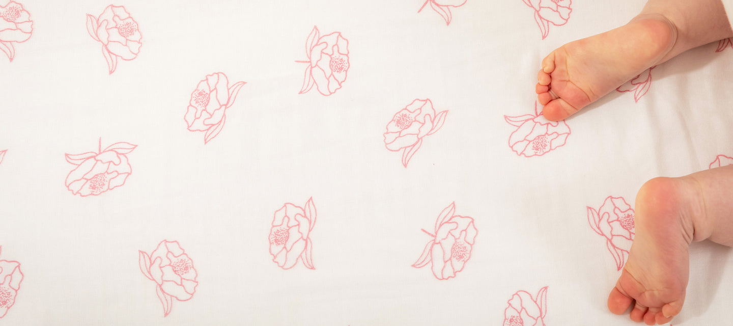 New Zealand peony muslin cot sheet